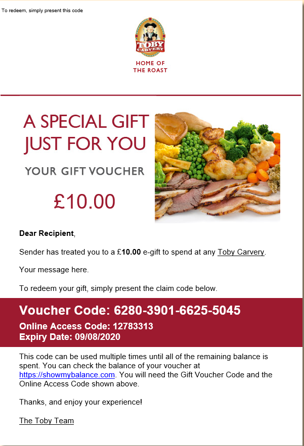 Toby Carvery Gift